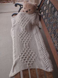 Hand-knitted taupe baby blanket cable baby blanket by susansworld