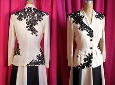 Vintage 1940s Jacket with Hand Appliqued Antique Lace by Lâché et Occupé. $278.00, via Etsy.
