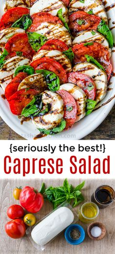 Salad Recipe (VIDEO) - How to make Caprese Salad with the best homemade balsamic glaze!How to make Caprese Salad with the best homemade balsamic glaze! Salade Caprese, Caprese Salad Recipe, Tomato Caprese, Tomato Salad Recipes, Caprese Chicken, Chicken Pasta, Vegetarian Recipes, Cooking Recipes, Healthy Recipes