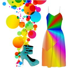 """""""Rainbows on the Horizon!"""" My """"Swathed in Rainbows"""" Dress and Nando Musi Shoes by @rinas-boutique   #rinas-boutique #heels #shoes #rainbows #bubbles #balloons #dresses #fashion #NandMusi #red #orange #yellow #green #blue #indigo #violet #rainbowcolored #sundresses #casual #daytime #formal  #fashion #designer #forsale #PAOM #clothing#abstracts# digital art #RoseSantuciSofranko #Artist4God#printalloverme"""