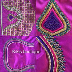Hand Work Blouse Design, Hand Work Design, Simple Blouse Designs, Stylish Blouse Design, Bridal Blouse Designs, Blouse Neck Designs, Embroidery Neck Designs, Hand Work Embroidery, Maggam Work Designs