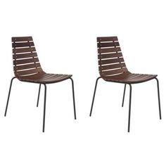 Check out this item at One Kings Lane! Walnut/Black Bee Side Chairs, Pair