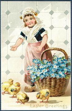 Easter Pretty Dutch GIrl With Basket Of Flowers | unsigned #Easter