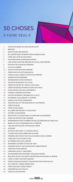 50 things to do alone e- 50 choses à faire seul-e 🙆♀️— 1026 50 things to do alone e- 1026 - Positive Mind, Positive Attitude, Positive Vibes, Vie Motivation, Miracle Morning, Burn Out, Self Improvement Tips, No Me Importa, Self Development