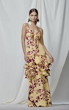 The Victorian Gold Rush silk dress by Johanna Ortiz Latest Gown Design, Silk Dress, Dress Skirt, Botanical Fashion, Runway Fashion, Womens Fashion, Fashion Edgy, Ankara Gown Styles, Moda Boho