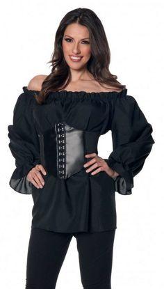 Plus Size Women's Long Sleeve Black Renaissance Peasant Blouse - Candy Apple Costumes - Adult Pirate Costumes