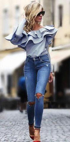Ruffle striped blouse- Stripes and embroidery outfit ideas – Just Trendy Girls
