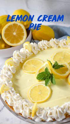 Lemon Pie Recipes, No Bake Lemon Pie, Easy Pie Recipes, Cream Pie Recipes, Baking Recipes, Lime Desserts, Gluten Free Desserts, Just Desserts, Delicious Desserts