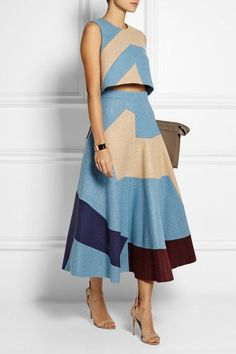 patchwork wool-felt midi skirt and top. Modest Fashion, Fashion Outfits, Womens Fashion, Fashion Trends, Cheap Fashion, Colorful Fashion, Dress Skirt, Dress Up, Sienna Miller