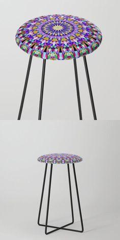 Happy Polygonal Mandala Counter Stool by David Zydd #BestCounterStools #MandalaCounterStool #MandalaArt #Polygonal #Society6 #Seating #Multicolored #RoomDecor #Life #Art (tags: furniture, gift idea, home, color mandala, artist, bohemian, design, counter stool, stool, mandala, bohemian home decor, geometric, geometrical, healing, mandala room decor)