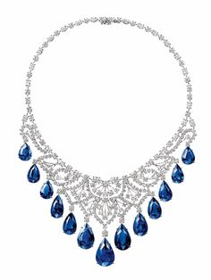 Cascading Sapphire and Diamond Necklace by Harry Winston - 13 pear shaped sapphires, total weight 146.71 carats, 55 pear shaped diamonds in a platinum setting