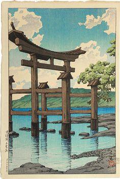 Kawase Hasui, Gozanoishi Shrine at Lake Tazawa, 1926