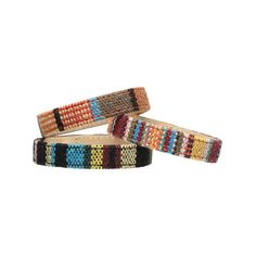 Sedona Cuff Bracelets by TOKYObay. Woven Southwest Print Backed in Italian Leather. Accessories For The Everyday.