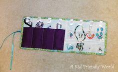 Travel Roll-up Jewelry Holder Tutorial! via A Kid Friendly World