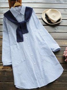 Slit Striped Shirt Dress With Removable Capelet - Light Blue