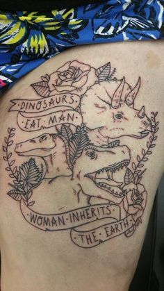 dinosaur, dinosaur tattoo, thigh piece, triceratops tattoo, jurassic park, jurassic world, tattoos, vines, quote tattoo, girly tattoo,