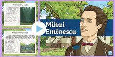 * NEW * Mihai Eminescu - Prezentare PowerPoint Lily, Baseball Cards, Bacon, Lilies
