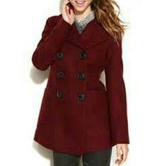 Bar II Double-Breasted Wool-Blend Bar?III?Double-Breasted Wool-Blend NWOT. Burgundy Bar III Jackets & Coats Pea Coats