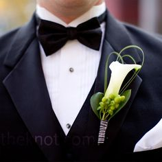 Handsome groom attire - Green hypericum berries and looped bear grass added texture to Nolan's calla lily boutonniere.