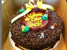 Chocolate Ribbon Cake From Stater Bros Bakery Bought The Curious George Figures Separately And