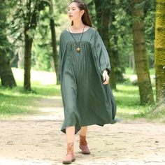 Women Solid Casual Loose Three Quarter Sleeve Pleated Dress