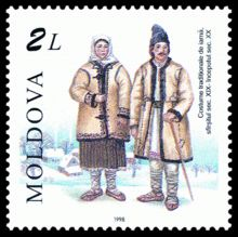 Winter traditional costume (XIX/XXth c.)  . Moldova Stamp 1998