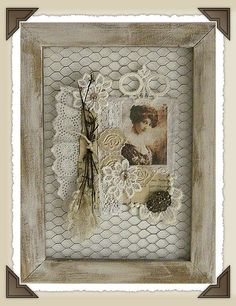twigs, chicken wire, lace and photo collage