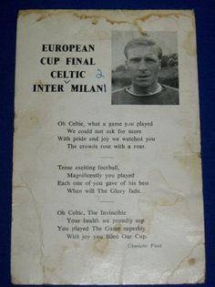"10 DAY AUCTION - Vintage European Cup Glasgow Celtic FC v Milan Postcard ""Lisbon Lions"" Poem 1967"