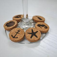 Encantos vino náuticas encanto del vidrio de por PrintsbyJettyHome