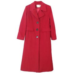 Pre-owned Fleurette Single Breasted Wool Long 4 P/ S New Petite Pea... ($220) ❤ liked on Polyvore featuring outerwear, coats, petite, red, petite pea coat, red peacoat, wool pea coat, long pea coat and pea jacket