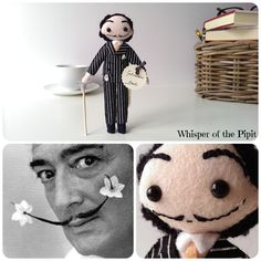 Salvador Dali art doll. Handmade art dolls made according to the picture provided by the customer. Fantastic gift idea! Find us at www.whisperofthepipit.etsy.com