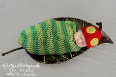 Hungry Caterpillar Newborn Costume or Infant Photoraphy Prop Green and Red Bug. $40.99, via Etsy.