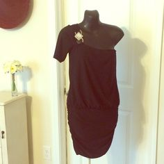 Little Black Party/Cocktail Dress One shouldered little black dress with sequin broach. Cinched at the hips. Only worn once. Additional pictures available upon request. Deb Dresses One Shoulder