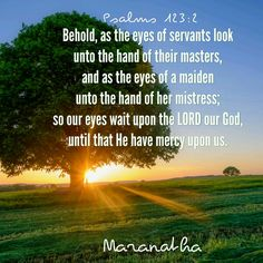 Psalms 123:1-4 (KJV)  Unto thee lift I up mine eyes, O thou that dwellest in the heavens. Behold, as the eyes of servants look unto the hand of their masters, and as the eyes of a maiden unto the hand of her mistress; so our eyes wait upon the LORD our God, until that he have mercy upon us. Have mercy upon us, O LORD, have mercy upon us: for we are exceedingly filled with contempt. Our soul is exceedingly filled with the scorning of those that are at ease, and with the contempt of the proud.