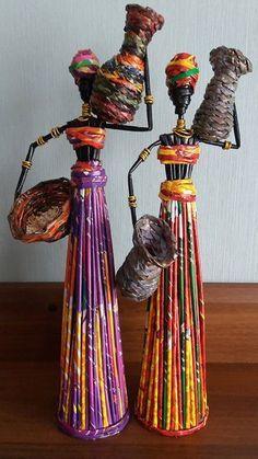 Папье-маше \ How to make doll \ Papier-mache - Papier maché, Plastic flessen en Papieren beelden Recycled Paper Crafts, Diy And Crafts, Arts And Crafts, Recycled Magazine Crafts, Cardboard Crafts, African Dolls, African Art, African Crafts, Pipe Cleaner Crafts