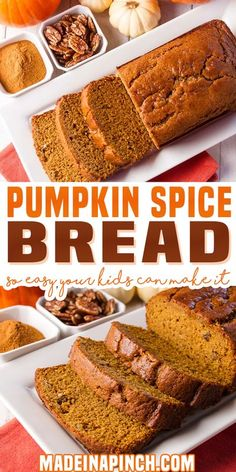 Our favorite recipe for pumpkin bread recipe (and we've tried them all). It's so easy and forgiving that kids can make it. Super moist, exploding with flavor, and you can even freeze it. Best pumpkin bread recipe ever! | Made In A Pinch @madeinapinch #pumpkinbread #baking #pumpkinbreadrecipe #pumpkin #pumpkinrecipes #thanksgiving #fall #autumn #pumpkinspicebread #fallbaking #pumpkinspicerecipes #easypumpkinbread #madeinapinch