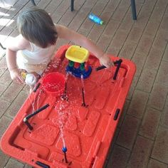 Water Table, for the Kids: 10 Steps (with Pictures) Water Table Diy, Water Tables, Diy Table, Water Table For Kids, Diy Water Fountain, Water Garden, Garden Projects, Projects To Try, Sand Play