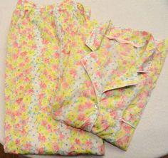 Victoria's Secret Floral Cotton 2 Pc Pajamas PJs Sz L NWOT Extra Button Attached #VictoriasSecret #PajamaSets