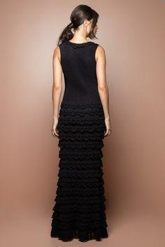 Black Grammy Crochet Long Dress - Vanessa Montoro - vanessamontorolojausa
