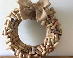 Items similar to Wine Cork Wreath Glass Sugar Beaded Grapes Burlap Grapevine on Etsy Cork Crafts, Xmas Crafts, Diy Crafts, Wine Cork Holder, Wine Cork Wreath, Sugar Beads, Wine Bottle Corks, Wine Craft, Clever Diy