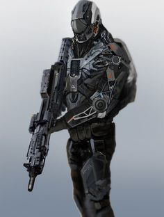 DeviantArt: More Like Birth of a Cyborg by reau Suit Of Armor, Body Armor, Rpg Star Wars, Arte Robot, Futuristic Armour, Future Weapons, Sci Fi Armor, Future Soldier, Armor Concept