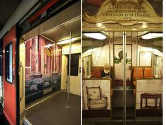French Trains Transformed into the Palace of Versailles :: As a commissioned collaboration between the Versailles estate and Encore Eux, the interiors of some RER C rail line trains, which transport people between Paris and Versailles, have been transformed to echo the grandeur motifs found in the famed royal chateau.  // #MyModernMetropolis