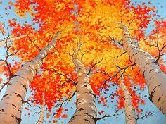 Anton Pavlenko: Painting to New Heights LOVE THIS - we'll give it a try- Anton Pavlenko is wonderful self taught artist, love his perspective, nice alternative for teaching perspective to Cali Autumn Art, Autumn Trees, Fall Leaves, Fall Tree Painting, Love Painting, All Nature, Wow Art, Art Plastique, Teaching Art