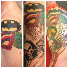 The beginning middle and almost done Super Hero Tattoo Sleeve ...