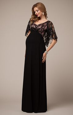 Vintage Cape Maternity Gown Blush Noir - Maternity Wedding Dresses, Evening Wear and Party Clothes by Tiffany Rose.