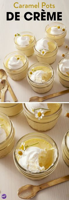 Indulge in the beauty of spring with these Caramel Pots de Crème. A sweet and elegant spring dessert that's great for Easter, wedding showers or Mother's Day brunch, these sweet caramel-flavored custards are topped with delicious whipped cream and fresh chamomile flowers – a fun way to help your treat blossom! Use the Wilton Treatology Flavor System to infuse your custard with the taste of caramel, and get ready to welcome spring with these little individual custard treats.