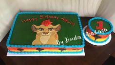 Disney The Lion Guard birthday sheet cake and smash cake Lion Guard Birthday Cake, Smash Cake First Birthday, Birthday Sheet Cakes, Lion King Birthday, Baby Boy First Birthday, 1st Boy Birthday, 2 Year Old Birthday Party, Boy Birthday Parties, Birthday Ideas