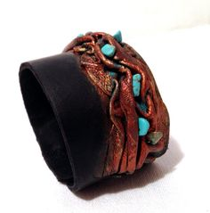 Cuff Wristband for women Fashion Leather Bracelet with turquoise Leather jewelry