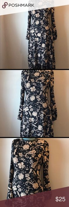 Who What Wear Floral Dress Beautiful, Excellent condition-Who What Wear Floral Print Dress. Dress is long sleeves with key hole back. Black and Tan Floral print.  Faux leather around neckline. Mid length dress. who what wear Dresses Midi