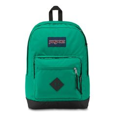 JanSport City Scout Backpack Varsity Green is a large capacity backpack with one main compartment, 15 inch laptop sleeve, padded shoulder straps, and front organizational pocket. Classic backpack shape with contrast bottom. Green Backpacks, Day Backpacks, Stylish Backpacks, Backpacks For Sale, School Backpacks, Leather Backpacks, Leather Bags, Jansport Backpack, Laptop Backpack